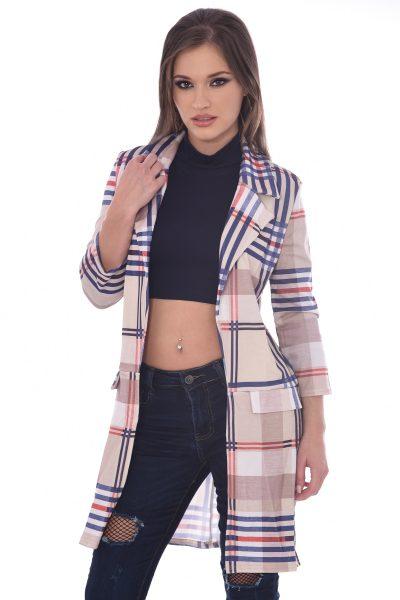 Beige Check Tartan Longline Jacket