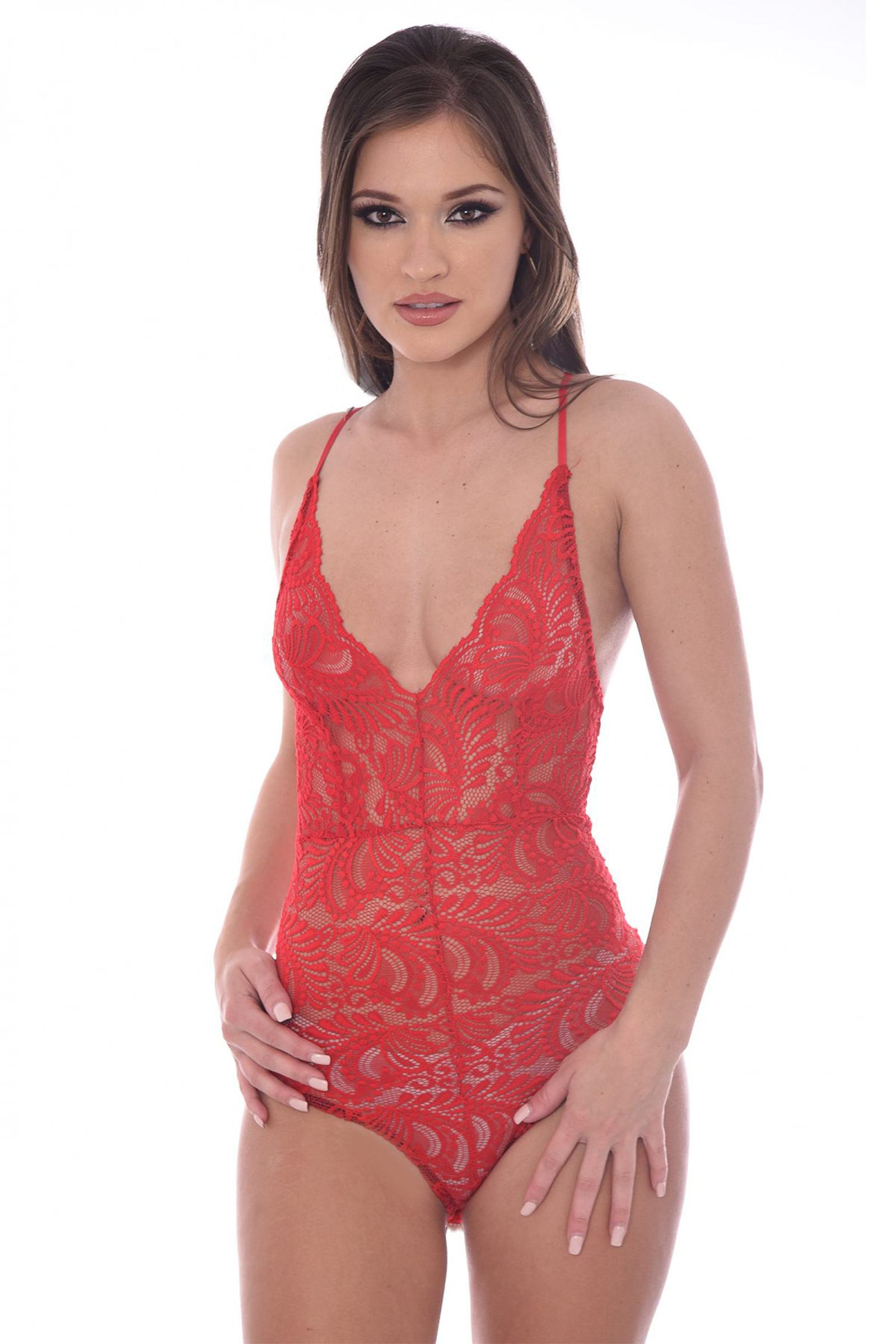 Carissa Red Sheer Lace Cross Back Bodysuit