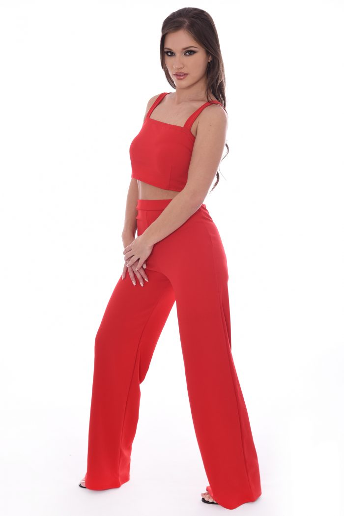 Tammie Red Crop Top And Trousers Co-ord Set