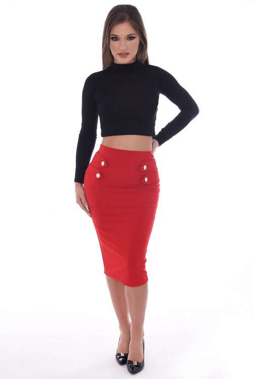 Justine Red Bodycon Gold Button Midi Skirt