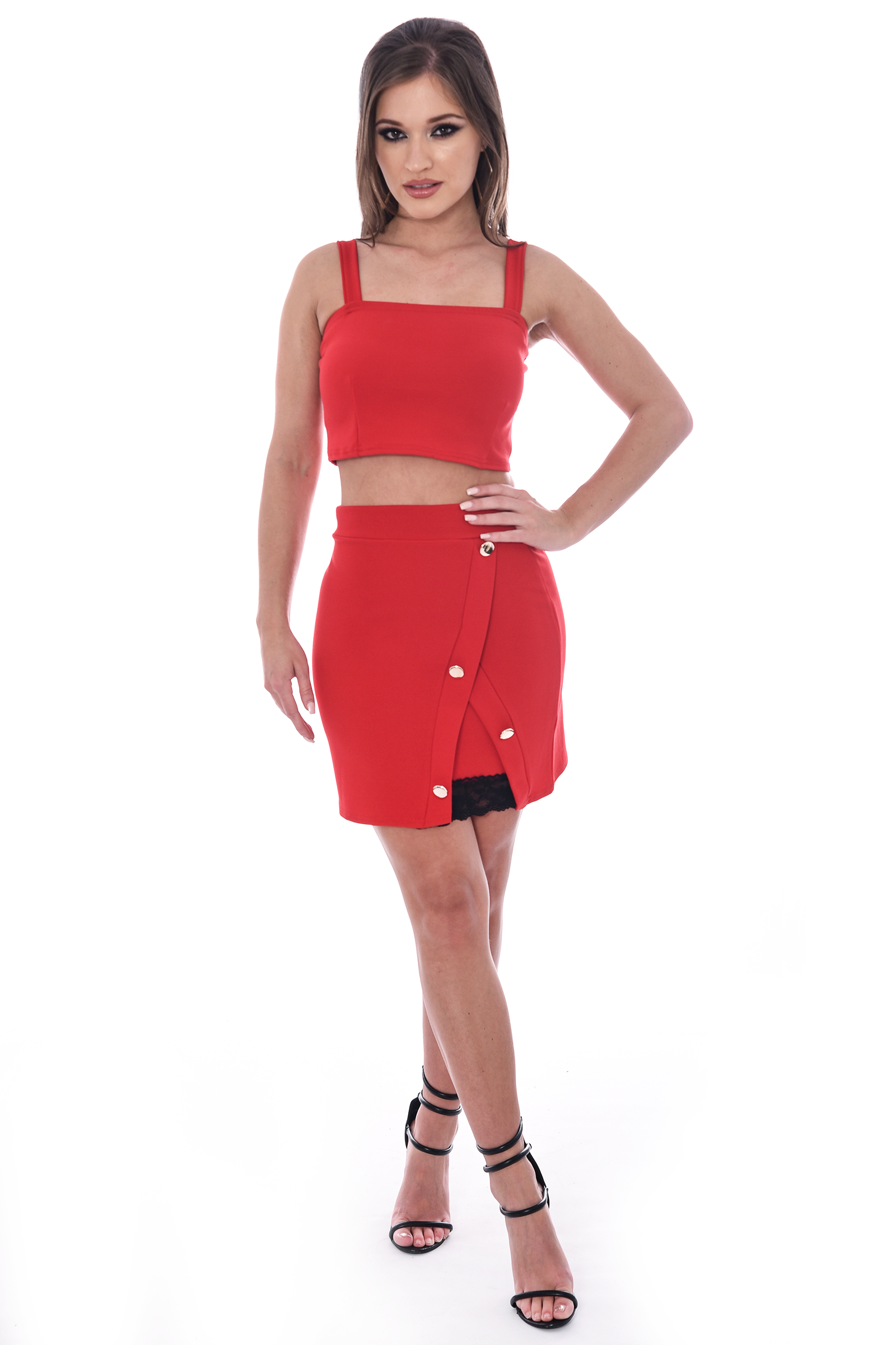 Vicki Red High Waisted Bodycon Lace Detail Mini Skirt