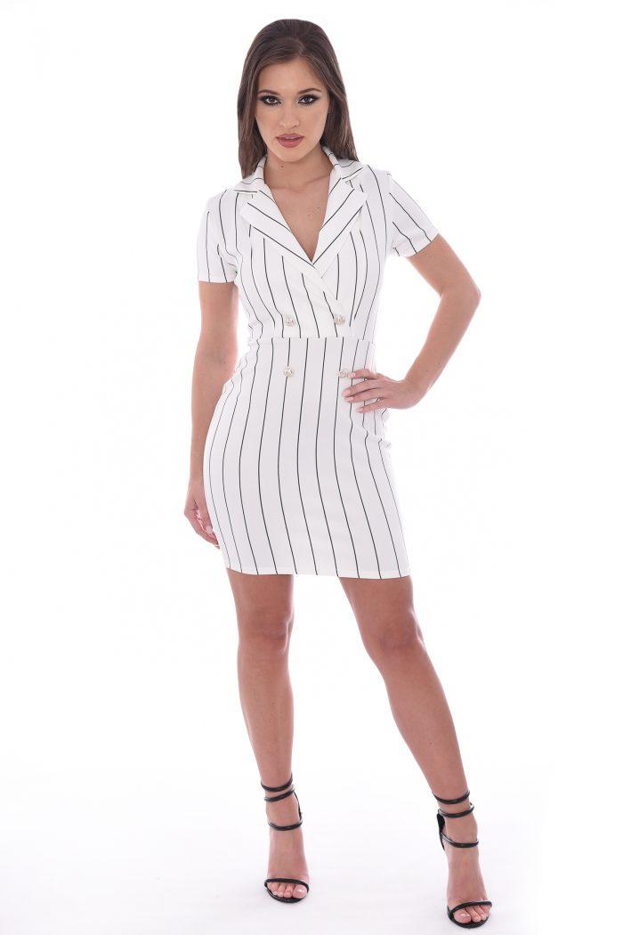 Sydney White Pinstriped Short Sleeve Bodycon Mini Dress