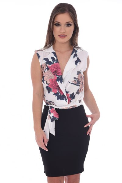 Somer White Floral V Neck Bodycon Dress