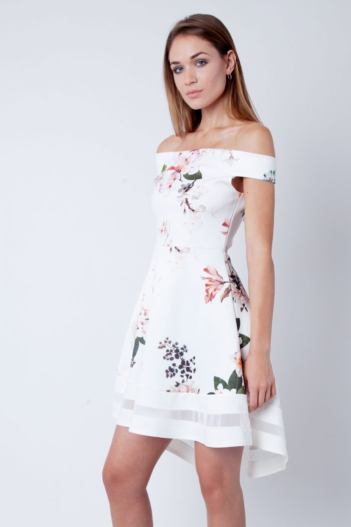 Clara Cream Floral Bardot Skater Dress