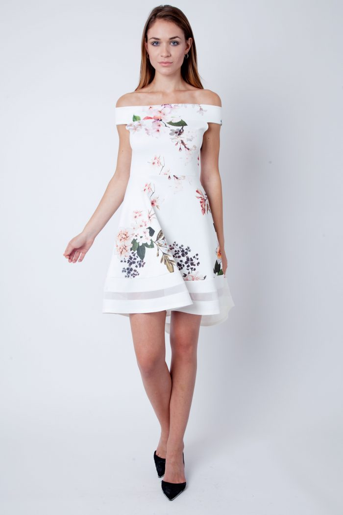 Clara Cream Pink Floral Print Bardot Skater Dress
