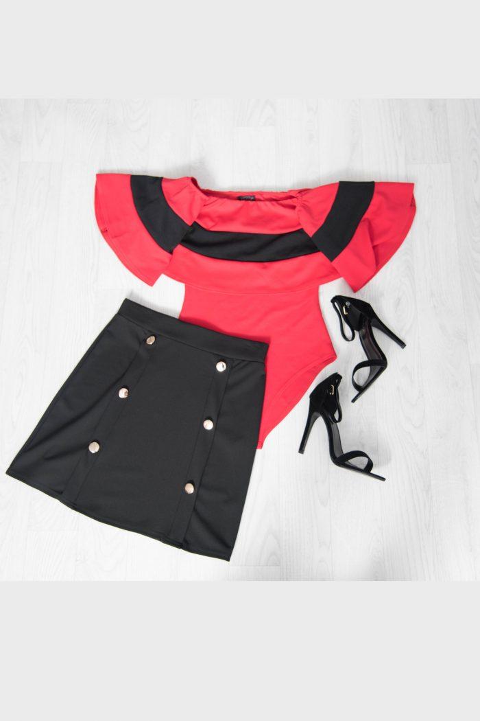 Red Stripe Bardot Bodysuit with Black Mini Gold Button Skirt