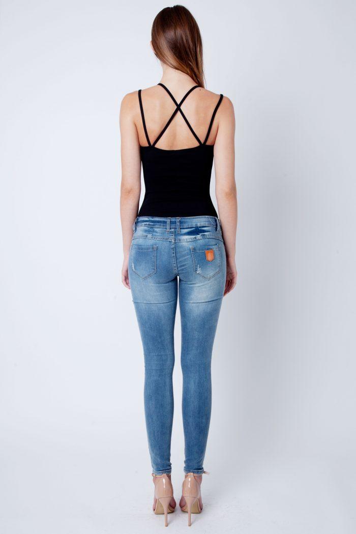 Black Strappy Cross Back Bodysuit