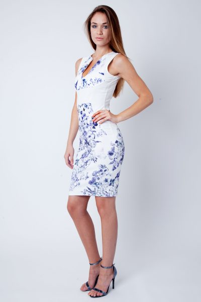 Abina Cream Blue Floral Sleeveless V Bar Bodycon Dress