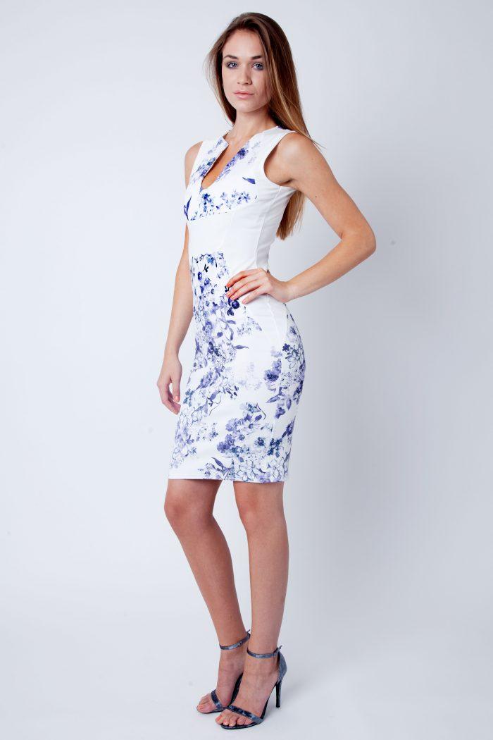 Abina Cream Blue Floral Sleeveless V Bar Bodycon Dress