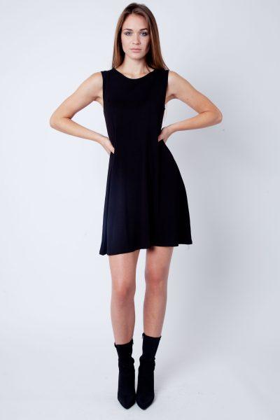 Black Round Neck Sleeveless Skater Dress