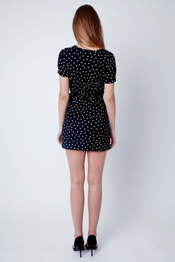 Black Polka Dot Wrap Over Dress