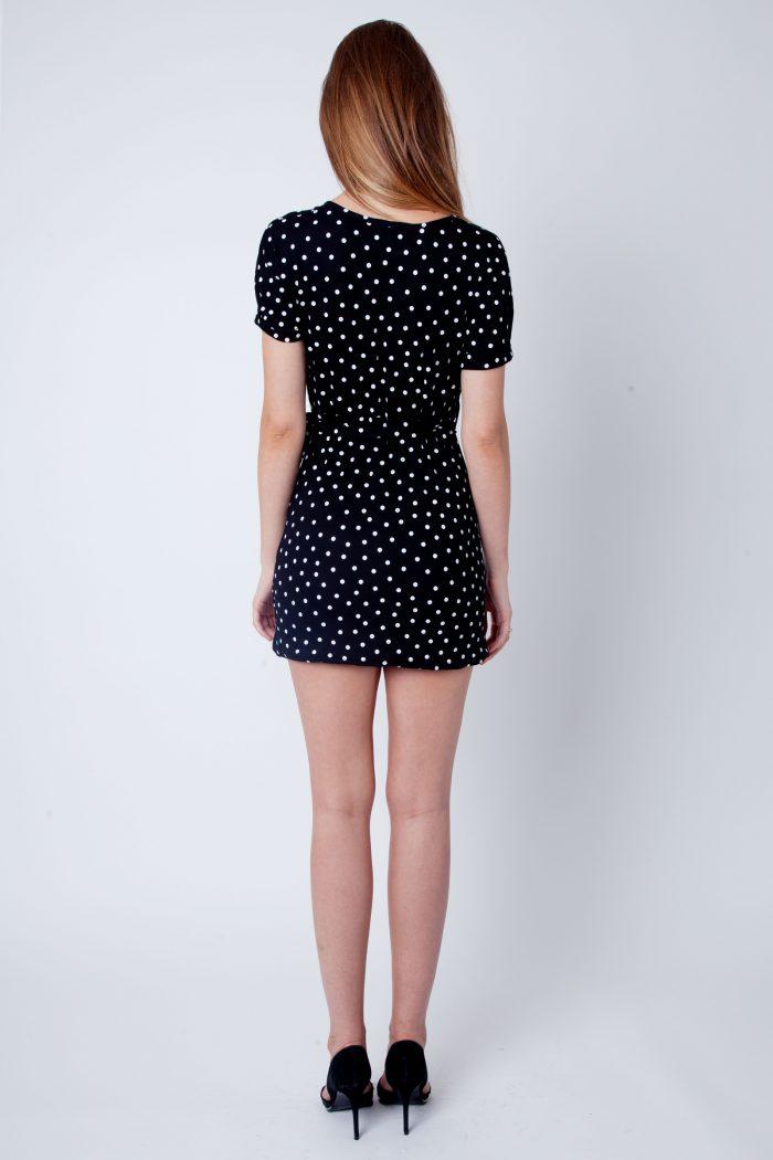 Black Polka Dot Wrap Over Dress