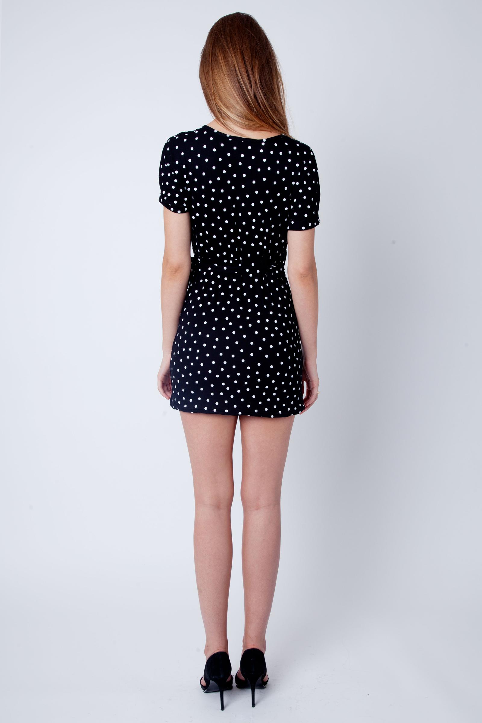 edd7d4ce0efc Cher Black Polka Dot Wrap Over Dress