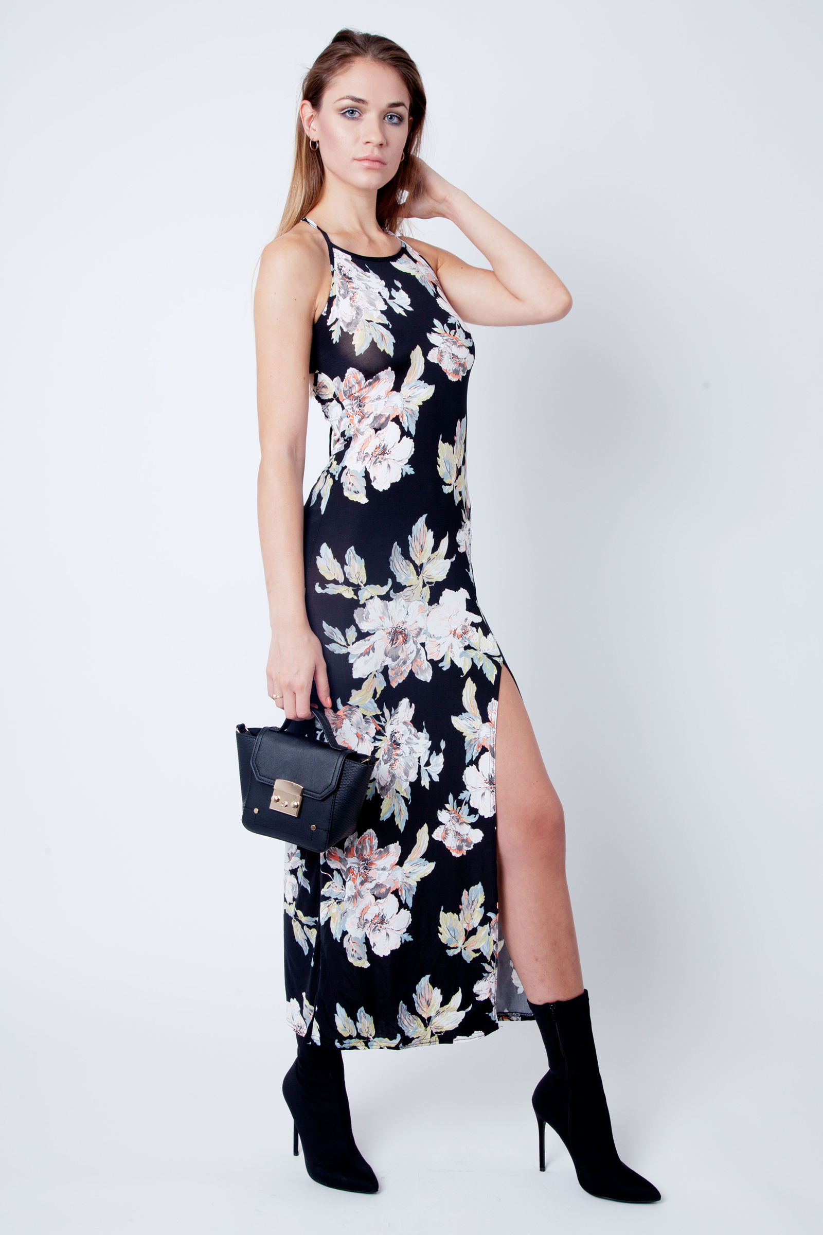 Ebony Floral Slinky Cross Back Maxi Dress