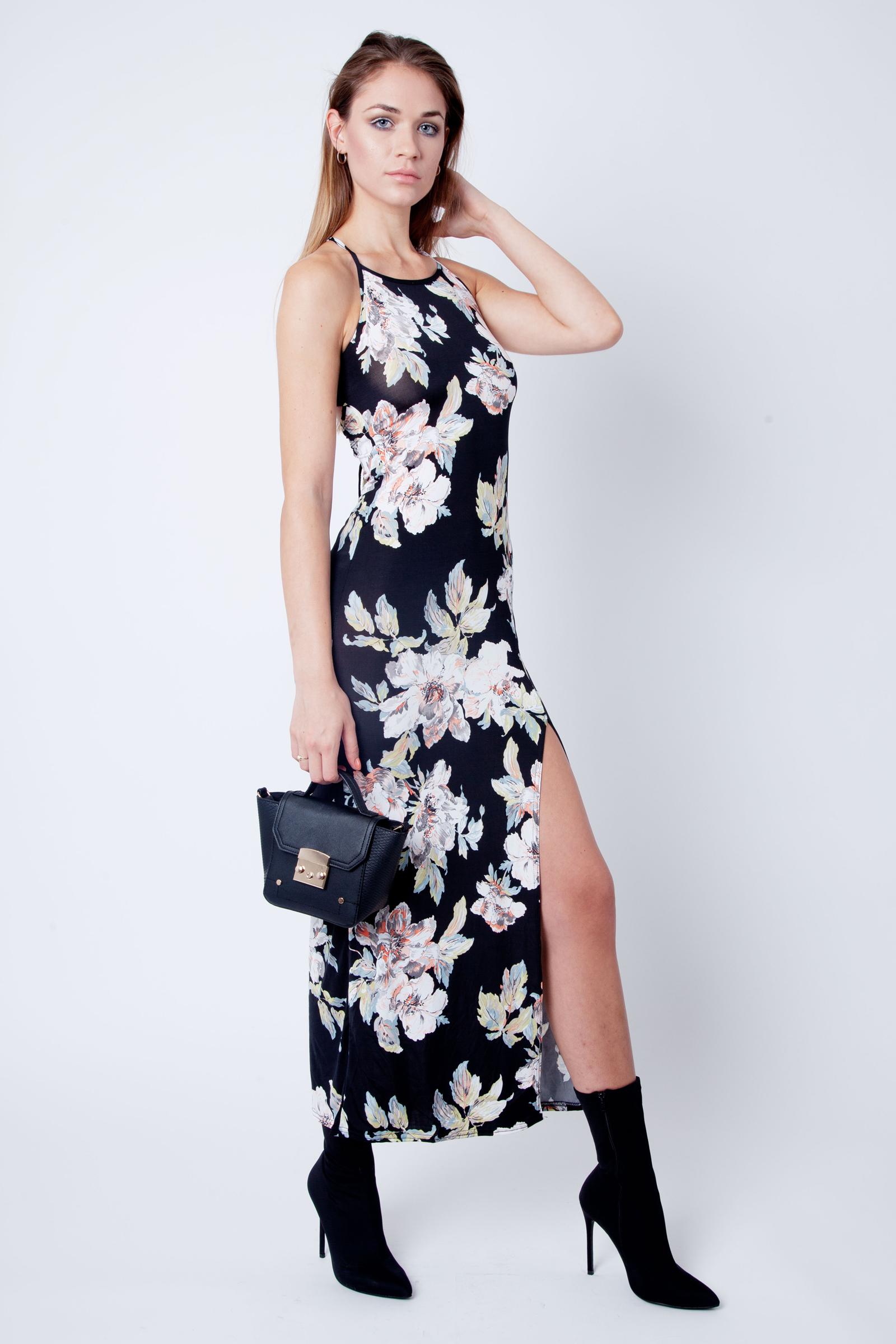 Ebony Floral Slinky Cross Back Maxi Dress