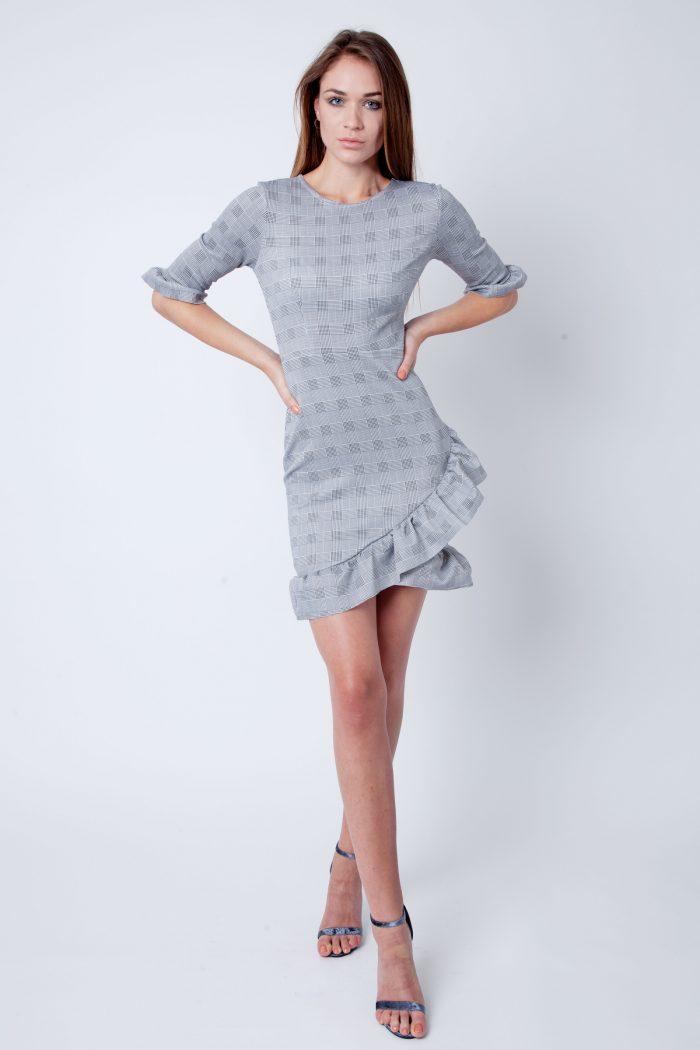 Grey Checked Curved Hem Frill Bodycon Dress