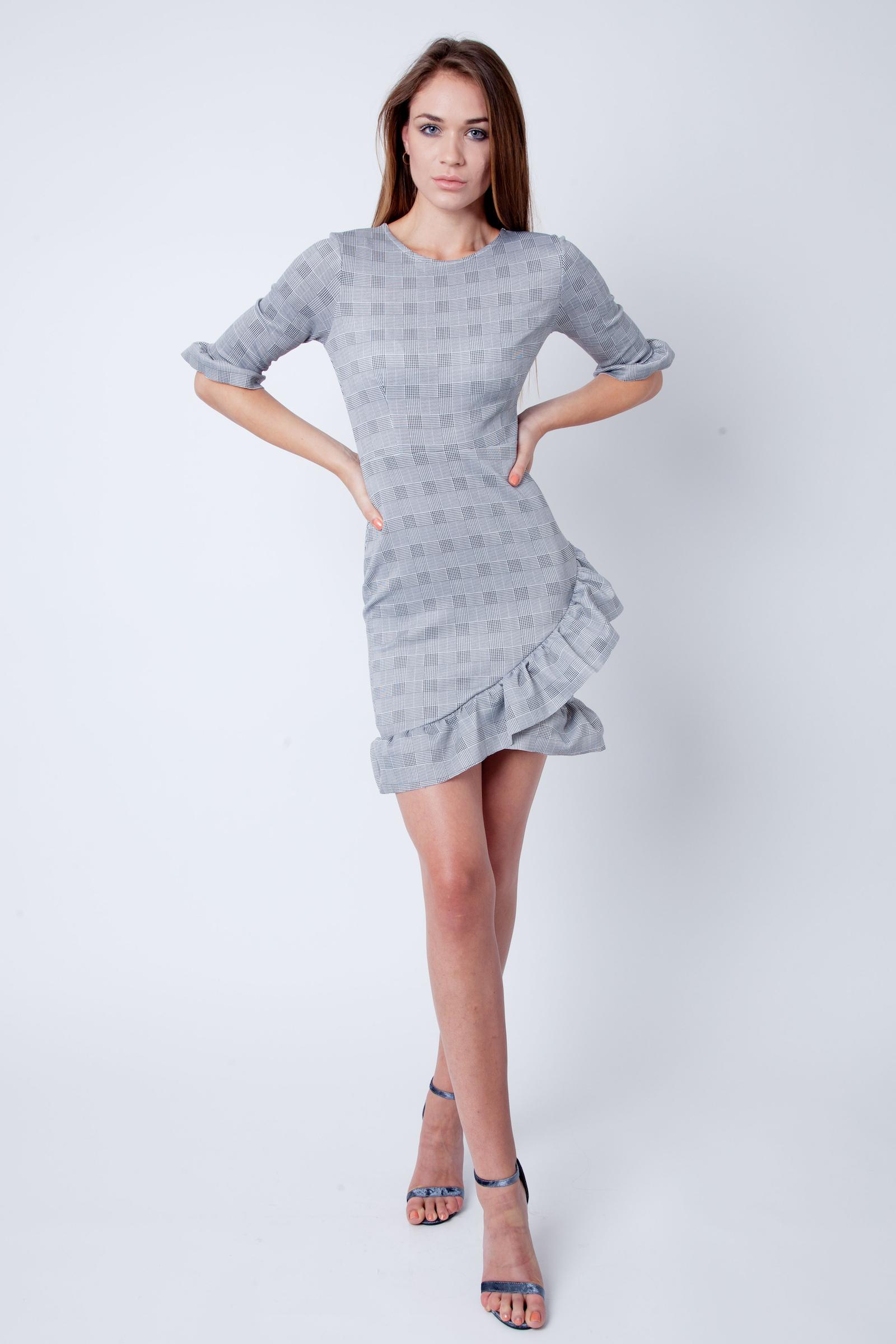 Danica Grey Check Tartan Curved Hem Dress