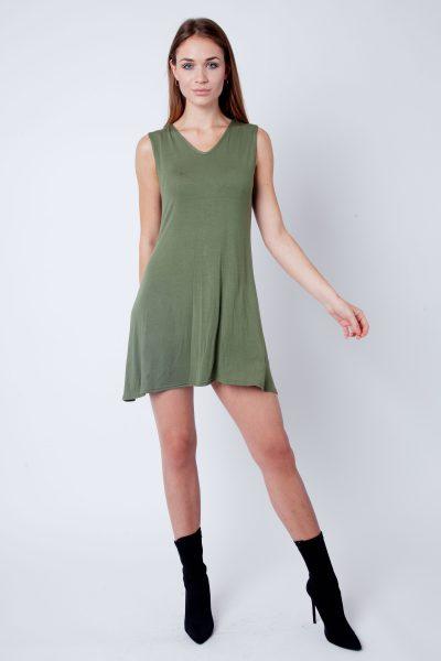 Khaki V-Neck Sleeveless Skater Dress