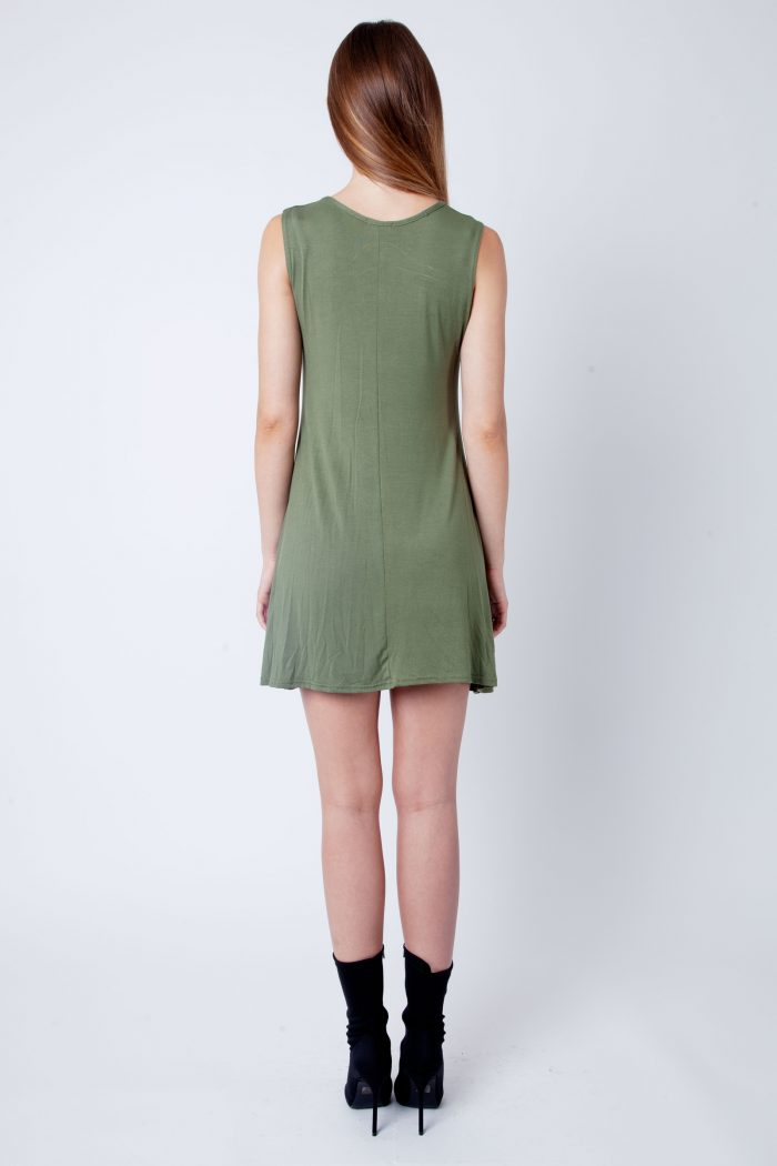 Khaki V-Neck Sleeveless Skater Dress
