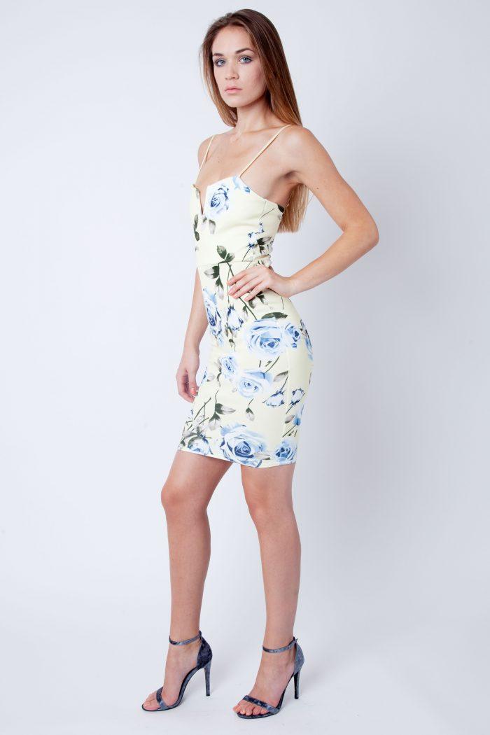 Becky Lemon Blue Floral Strappy V Bar Bodycon Dress