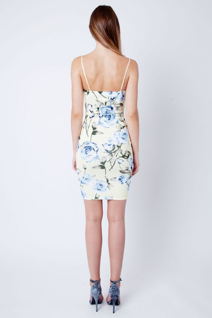 Becky Lemon Blue Floral Strappy V Bar Bodycon Dress