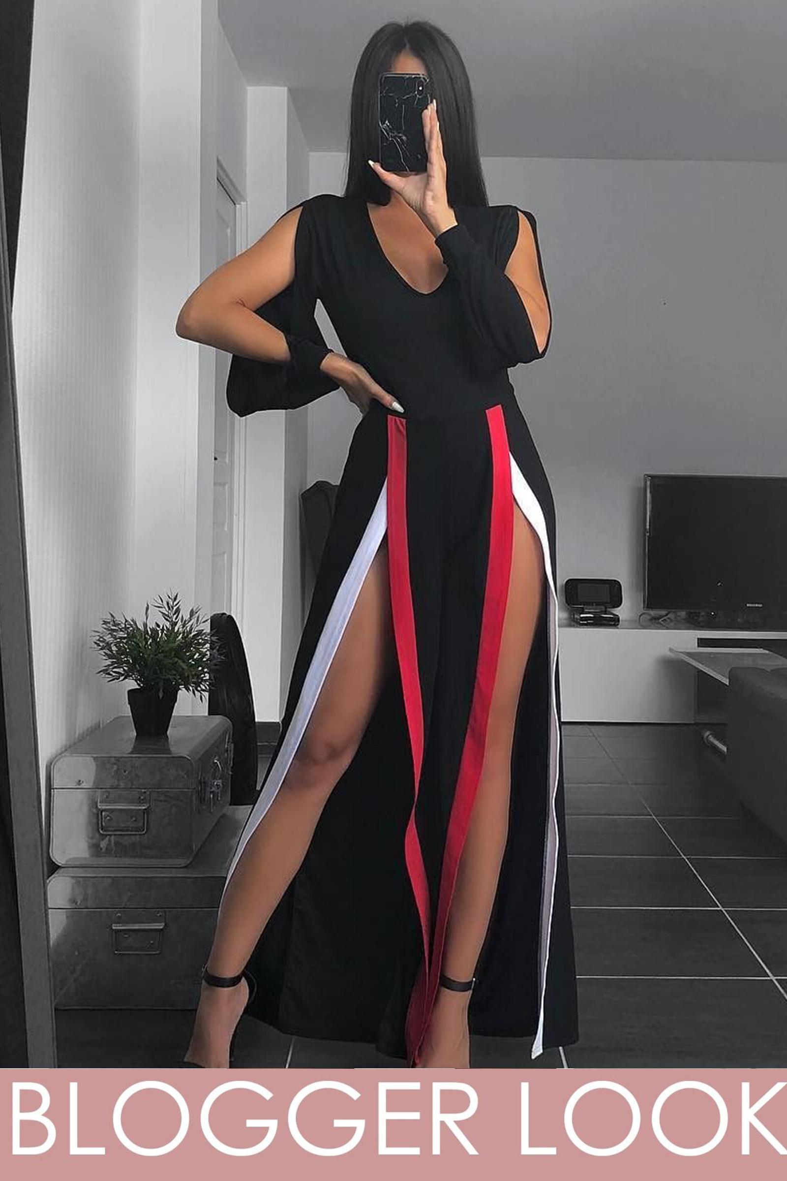 Mahari Split Leg & Sleeve Striped Jumpsuit