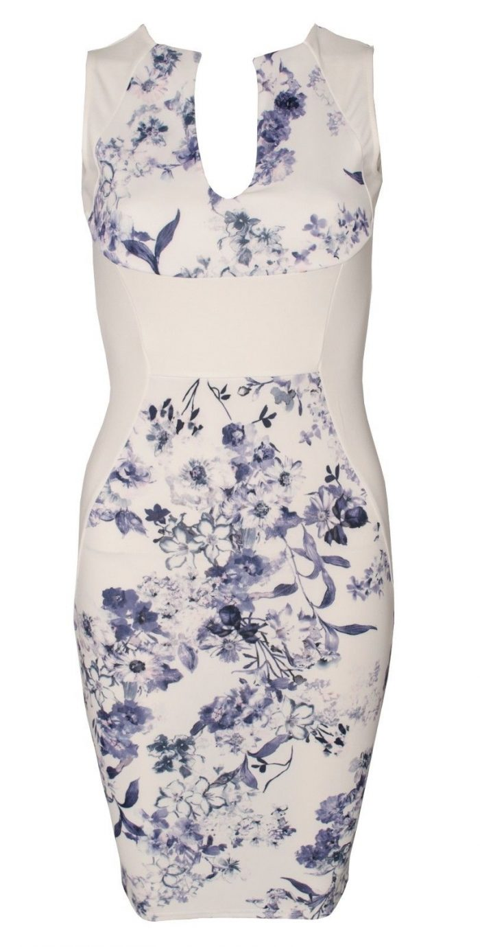Show off that figure this summer with a much-loved dreamy Abina Cream Blue Floral Sleeveless V Bar Bodycon Dress