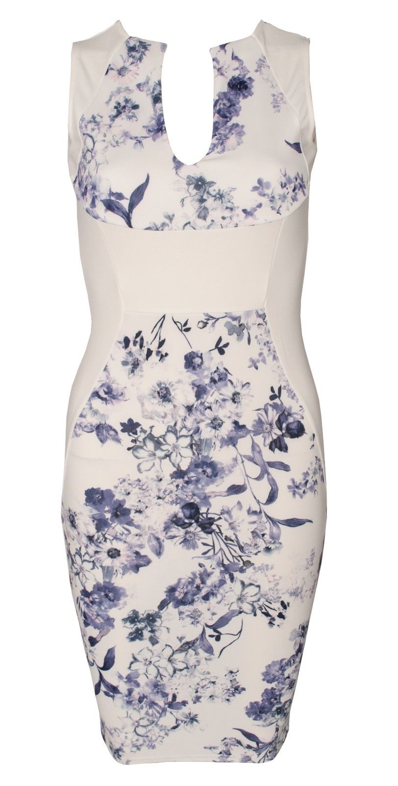 Abina Cream Blue Floral Sleeveless V Bar Bodycon Dress Modamore