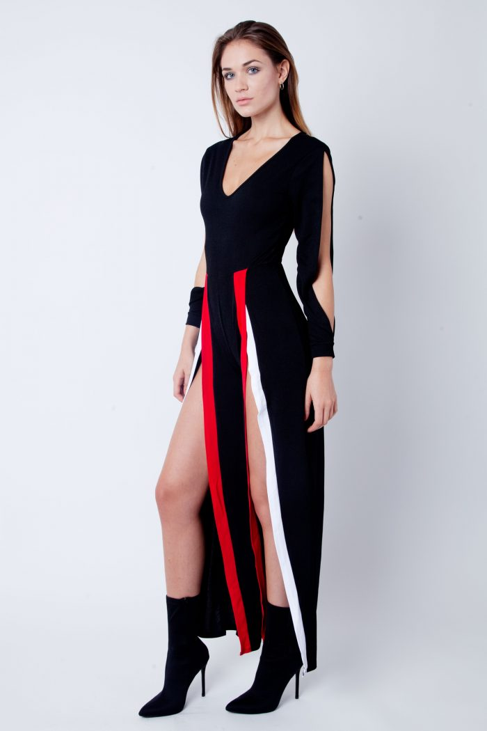 Split Leg & Sleeve Striped Jumpsuit