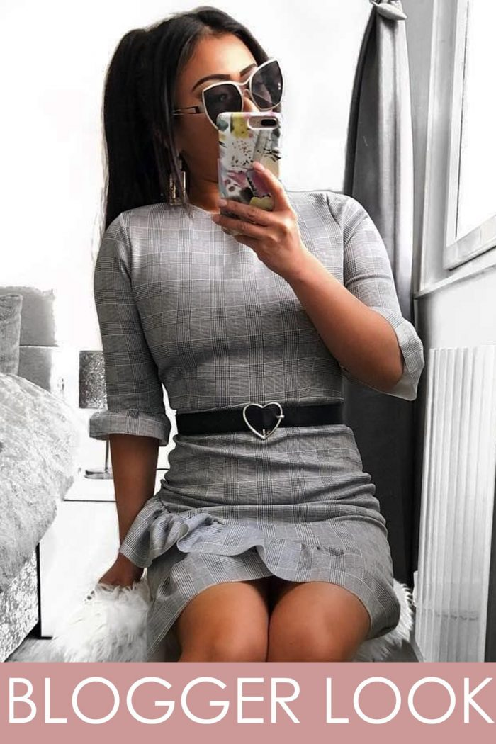 Grey Checked Curved Hem Frill Bodycon Dress