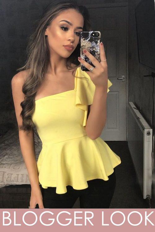 Lemon yellow Frill Peplum Top