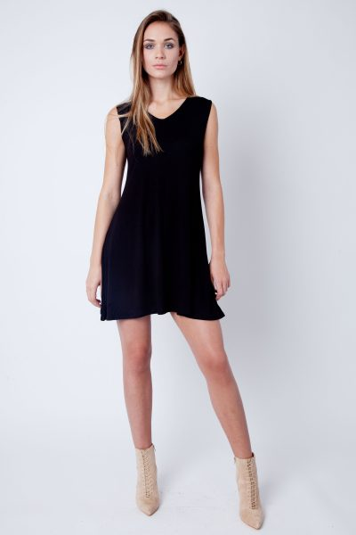 Black V-Neck Sleeveless Skater Dress