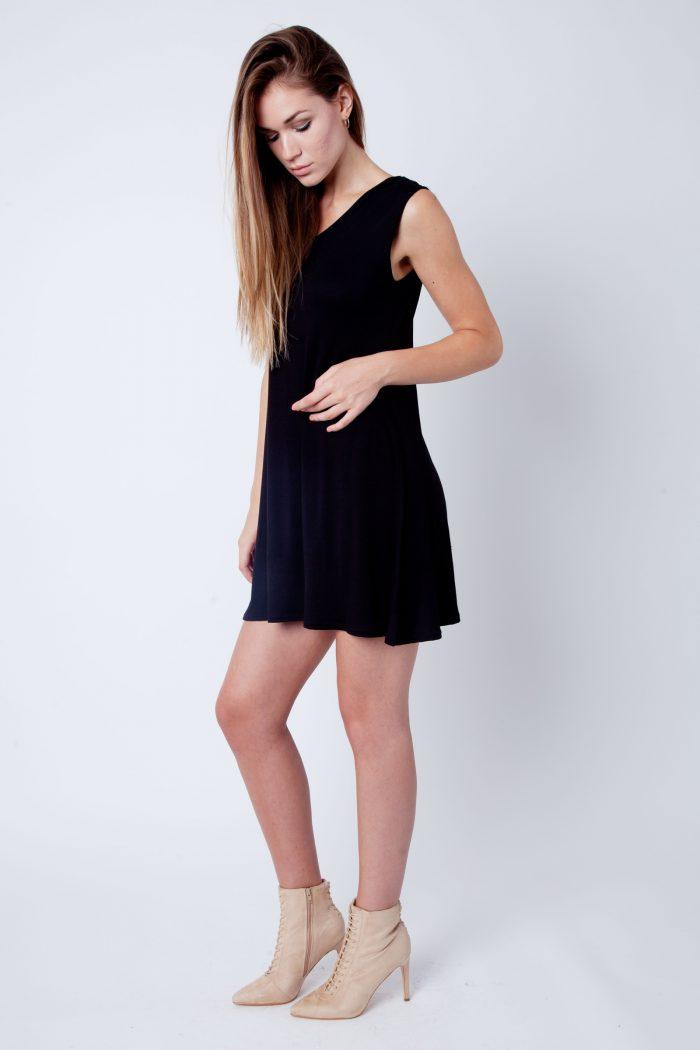 Black V-Neck Sleeveless Skater Dress