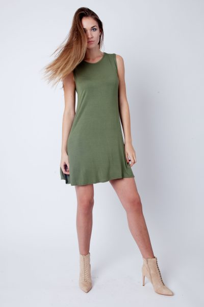 Khaki Round Neck Sleeveless Skater Dress