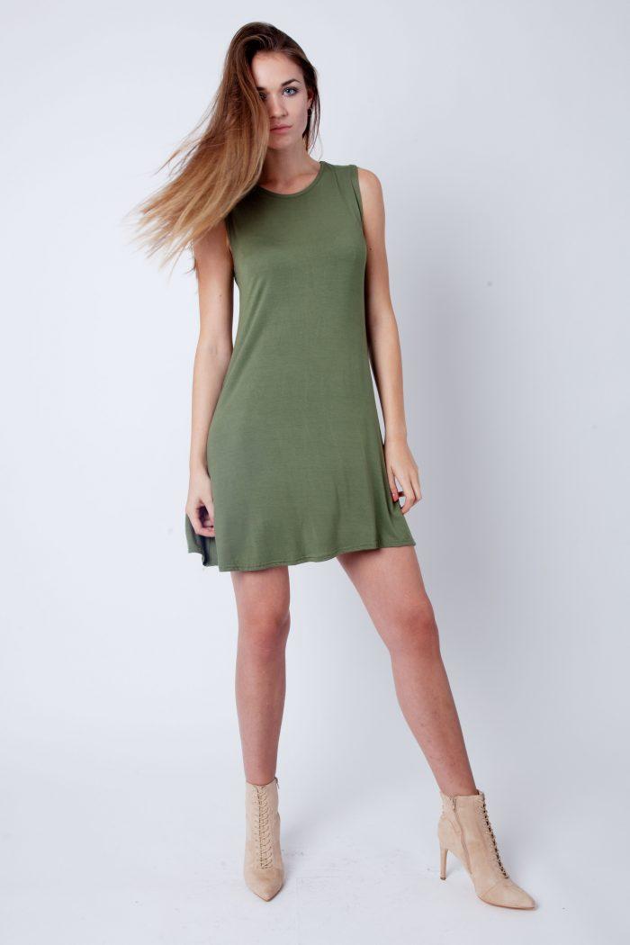 Khaki Round Neck Sleeveless Skater Dress