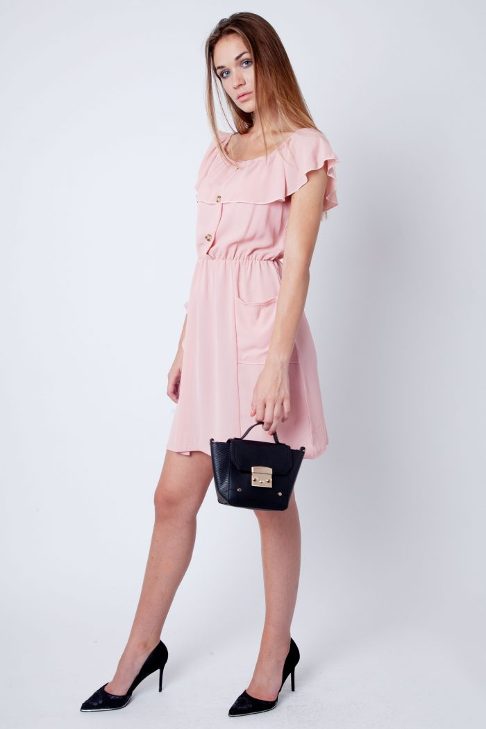 Maia Pink Blush Frill Bardot Button Dress