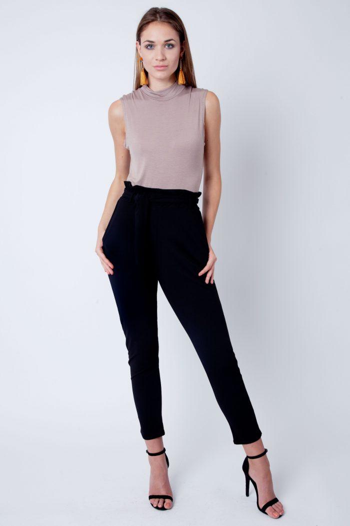 Mocha Polo Neck Sleeveless Bodysuit