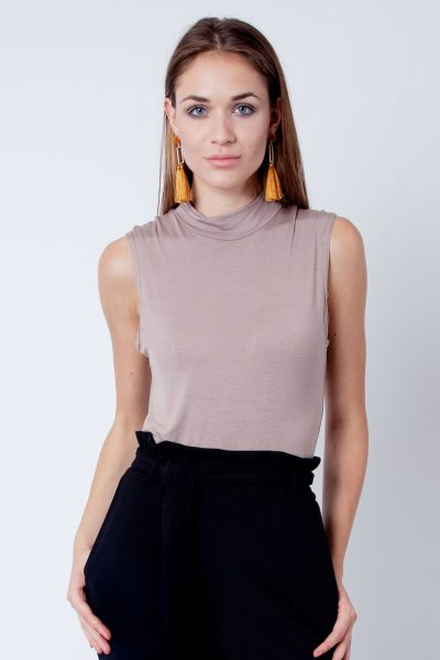 Mocha Polo Neck Sleeveless Bodysuit