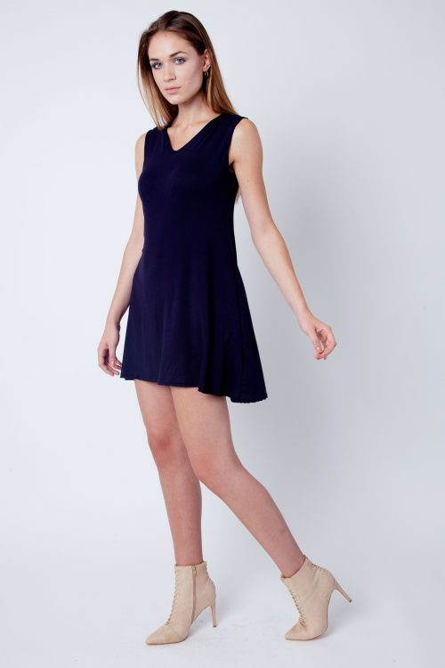 Navy V-Neck Sleeveless Skater Dress
