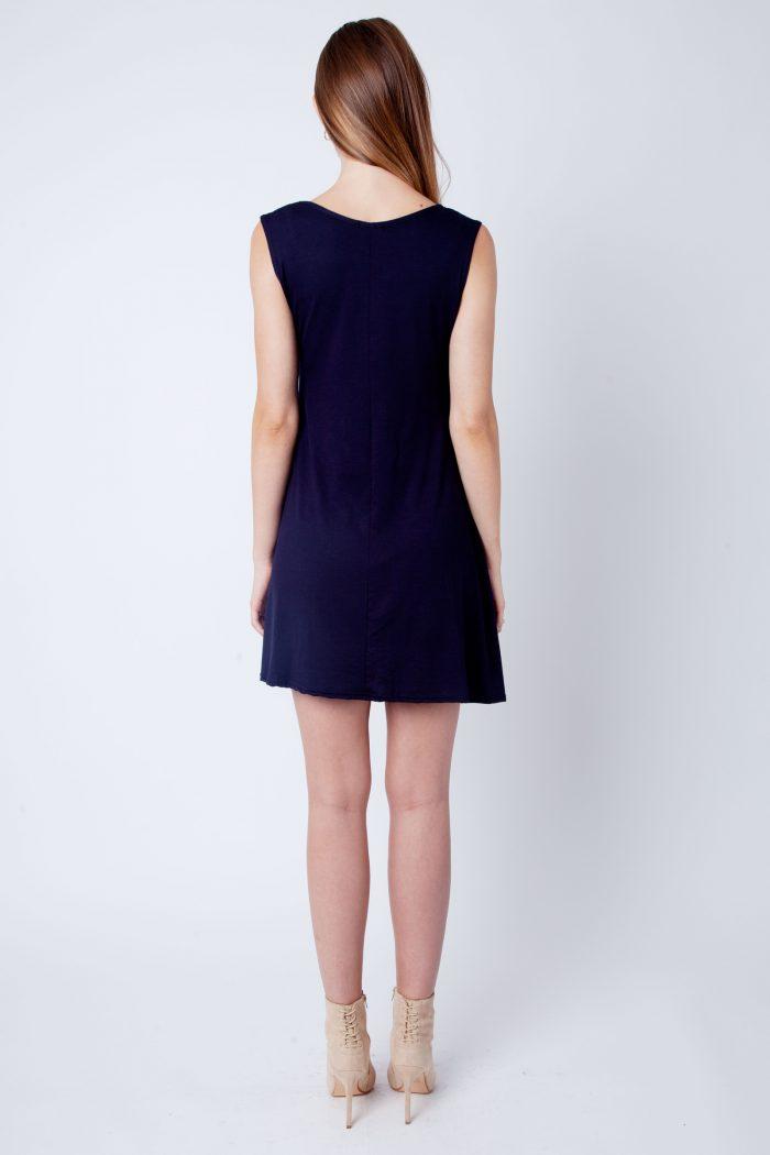 Navy V-Neck Sleeveless Skater Dress