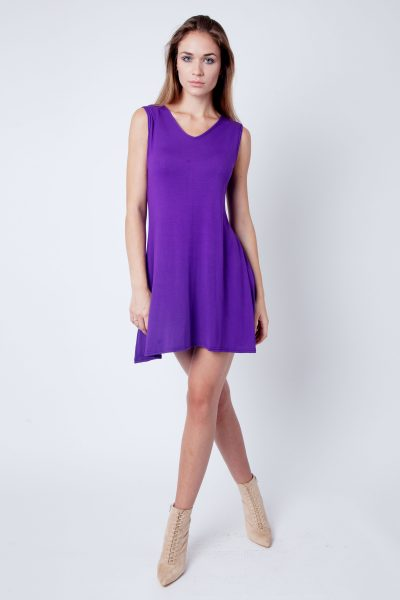 Purple V-Neck Sleeveless Skater Dress