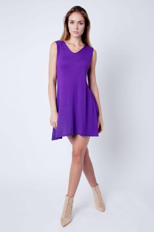 Purple V-Neck Sleeveless Skater Dress