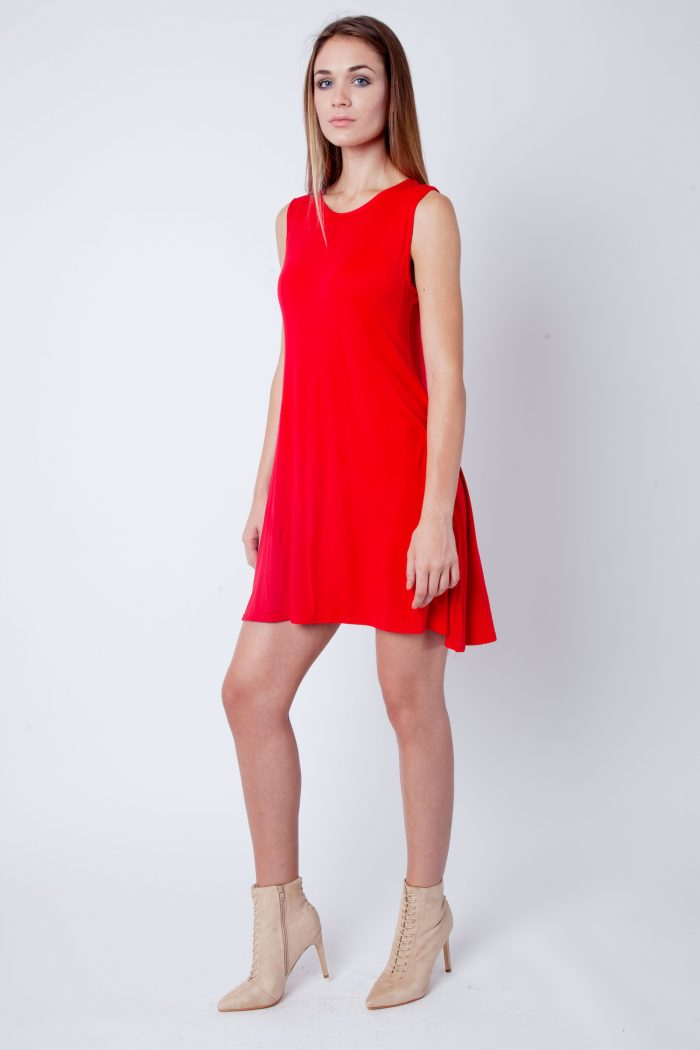 Red Round Neck Sleeveless Skater Dress