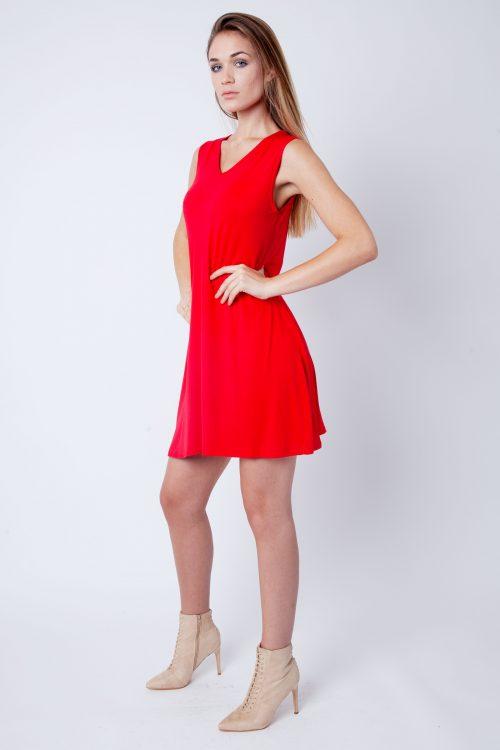 Red V-Neck Sleeveless Skater Dress