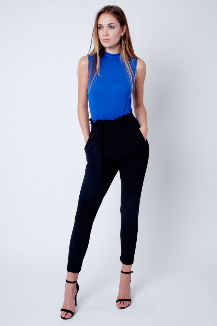 Royal Blue Polo Neck Sleeveless Bodysuit