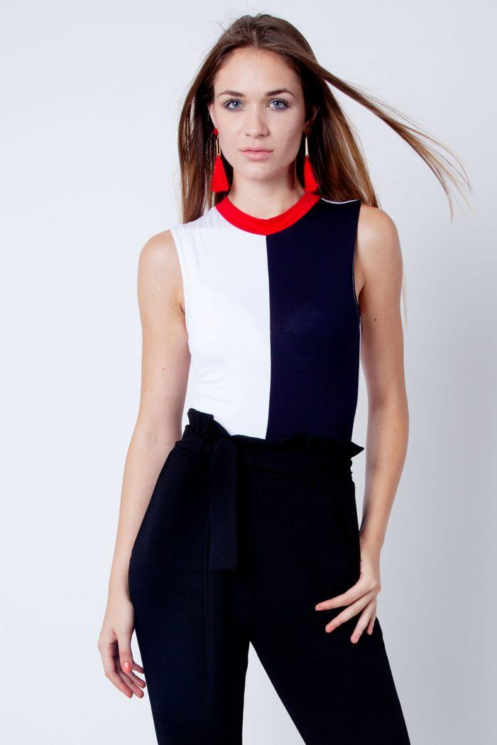 Sleeveless Red White Navy Colour Block Bodysuit