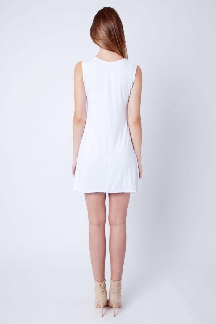 White Round Neck Sleeveless Skater Dress