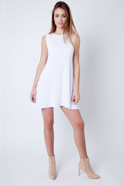White Round Neck Sleeveless Skater Dress