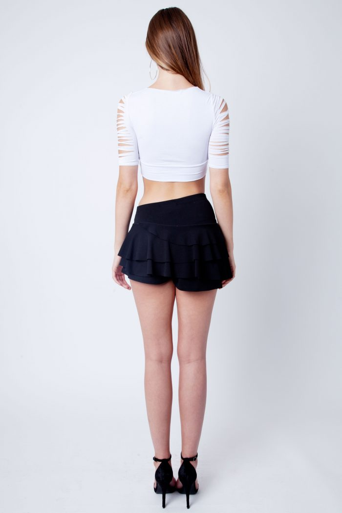 White Slash Ripped Short Sleeve Crop Top