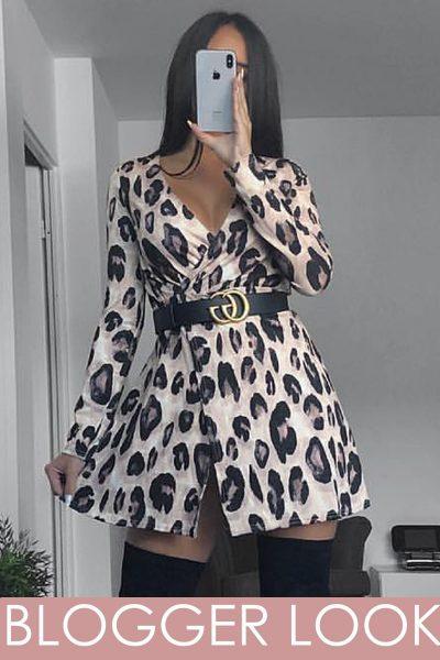 Leopard Print Lurex Glitter Wrap Skater Dress